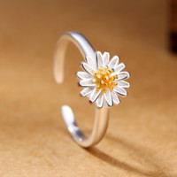 Silver Ring Daisy Flower Opening Adjustable Rings