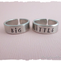 Hand Stamped Ring Set - Matching - Big - Little - Sorority Sisters - Keep one gift the other