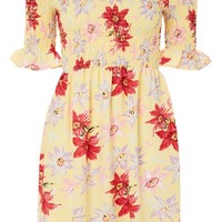 Lemon Floral Bardot Dress