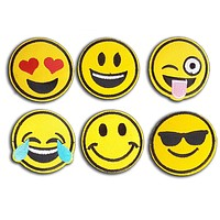 Emoji Patches - 6 Pack of Fun Smiley Embroidered Iron-On Patches