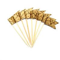 12 Bronze Ornate Flag Cupcake Toppers - fleurs de lys - shimmer cupcake topper - Washi Tape Cupcake Toppers, wedding, engagement, birthday