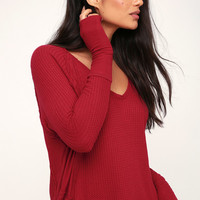 Catalina Red Long Sleeve Thermal Top