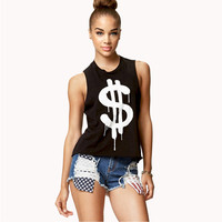 Black Dollar Sign Sleeveless Tank Top