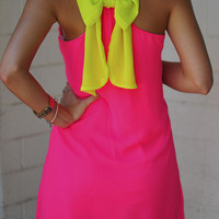 Dreaming Of You Dress: Neon Pink/Chartreuse   Hope's