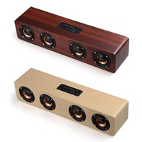 F6 Pro Wooden Speaker Bluetooth Wireless PC USB AUX TF Card 4 Speakers Stereo Bass Sound Box for Computer mp3 Android IOS