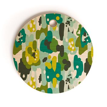Heather Dutton Painted Camo Cutting Board Round