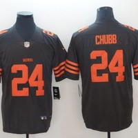 Cleveland Browns 24 Nick Chubb Color Rush Limited Football Jerseys Brown