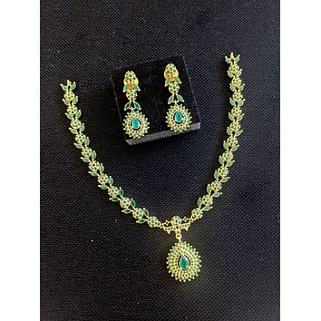 CZ stone embedded Flower Leaf Choker necklace and Earrings set