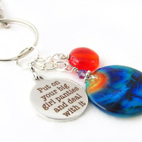 Big Girl Pants Keychain, Deal with it Keychain, Funny Keyring, Quote Keychain, Car Accessory, Peacock Keychain, Big Girl Pants Keyring