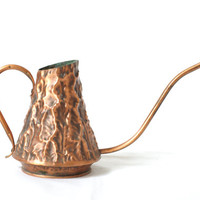 COPPER WATERING CAN, Curved Handle und Spout, Solid Copper, Made in 1960s or 1970s, from Switzerland, Rustic Modern Decor