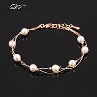Charm Bracelets & Bangles White/Rose Gold Plated Fashion Simulated Pearl Beads Wedding Jewelry For Women