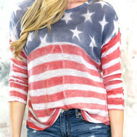 Stripe and Star Print Long Sleeve T-Shirt