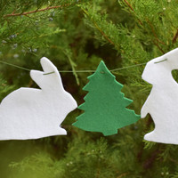 Christmas garland-Felt Bunny bunting-Christmas banner-Holiday decoration-Rabbit-Animal Banner-Nursery decor-Xmas ornaments-mantle decor