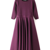 Purple High Waist 3/4 Sleeve Knit Midi Dress