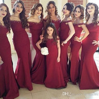 Cheap Beaded Long Chiffon Burgundy Bridesmaid Dress 2017 Mermaid Off Shoulder Wedding Party Dress Maid of the Honor Gown  BE8