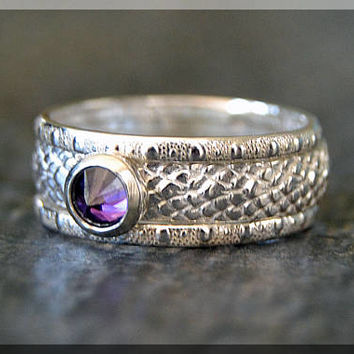Sterling Silver Birthstone Ring Set, Choose Your Birthstone, Stacking Gemstone Ring, Snake Skin Shank Ring, Set of 3 Rings, Inverted Setting