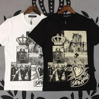 D&G Dolce & Gabbana Men Fashion T-Shirt Top Tee Black/White