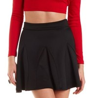 Black Ponte Knit Skater Skirt by Charlotte Russe
