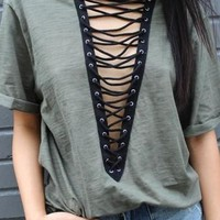 Indie Lace Up Tunic - Olive