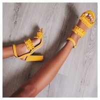 Bailey Double Frill Block Heel In Yellow Faux Suede