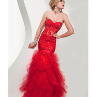Jasz Couture 2014 Prom Dresses -Sexy Red Lace Ruffle Mermaid Prom Gown
