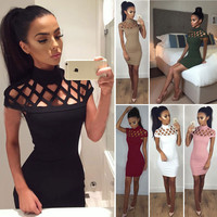Sexy Hollow Out Short Sleeve Short Bodycon Dress