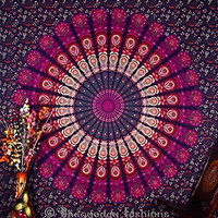 Indian Multi-colored Mandala Tapestry, Indian Wall Hanging Bedsheet, Coverlet Picnic Beach Sheet , Superior Quality Hippie Wall Tapestries , Hippie Cotton Tapestry, Bohemian Indian Tapestry , Queen 86x94 By Bhagyoday