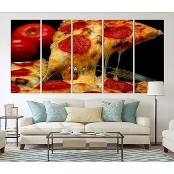 87131 - Large Wall Art Italiano Pizza Canvas Print for Restaurant and Cafe