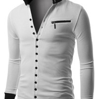 Doublju Men's Jersey Cardigan with Contrast Detail White Large