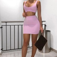 Dancing With A Stranger Deep Scoop Neck Sleeveless Stretchy Bodycon Open Back Two Piece Mini Dress - 4 Colors Available