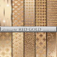 "Gold and glitter digital Paper ""Red gold"" digital background for scrapbooking, invites, cards,web design,jewelry making.Instant Download"