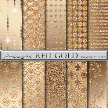 """Gold and glitter digital Paper """"Red gold"""" digital background for scrapbooking, invites, cards,web design,jewelry making.Instant Download"""