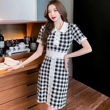 Small Fragrance Patchwork Knitted Sweater Dress  Women Casual Plaid Mini Dresses Vintage Robe