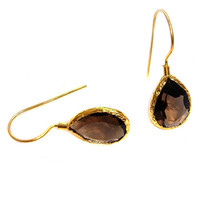 Smokey Quartz Faceted Drop Silver Earrings coated in Gold
