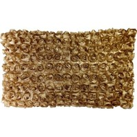 """Decorative 3D Small Gold Roses Floral Throw Pillow Cover 22x13"""""""