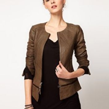 Improvd Leather Jacket With Contrast Stitch Panels at asos.com