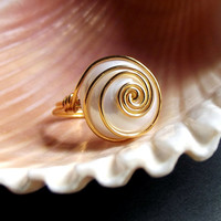 Ivory Freshwater Pearl Ring:  24K Gold Swirl Spiral Modern Bold Wire Wrapped Ring, Cream White Wedding Jewelry, Size 5