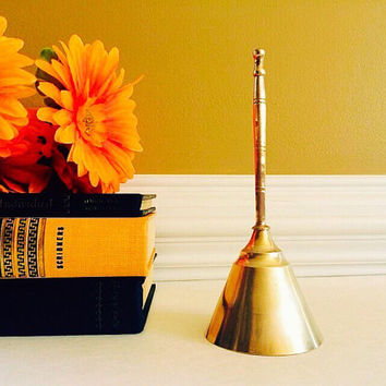 Solid Brass Bell Made in India, Dinner Bell, Altar Bell, Vintage Home or Office Decor