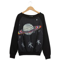 Urparcel Women Harajuku Saturn Astros Cartoon T-shirt Raglan Long Sleeve Blouse