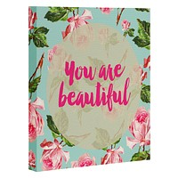 Allyson Johnson Floral you are beautiful Art Canvas
