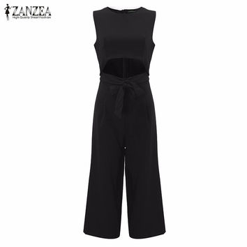 New Arrival 2017 Sexy Rompers Womens Jumpsuit Summer Autumn Sexy O Neck Sleeveless Overalls Hollow O