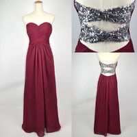 Cheap New Style Strapless Sweetheart with Beading Chiffon Prom Dresses