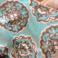 Minky Baby Blanket Blue and Brown. Mar Bella  Ivory Minky Dot Back Infant or Carseat Size 29 x 36