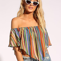 Multi Stripe Pointed Crop Top