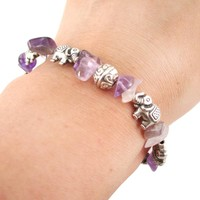 Elephant Charms and Purple Amethyst Beads Shaped Bracelet in Silver | DOTOLY