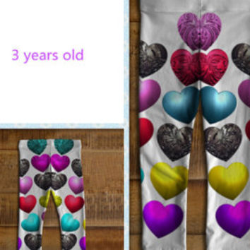 Baby girl's leggings made of eco-spandex performance fabric Pattern of 3D hearts Stretch baby leggings for girl 6 months to 3 years old
