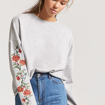 French Terry Floral Sweater