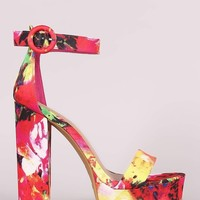 Bamboo Floral Print Open Toe Platform Chunky Heel