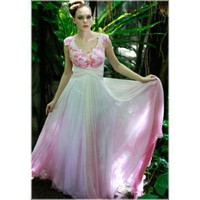 Beautiful Pink and White Long Semi Formal Ball Gowns