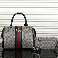 Gucci Women Leather Shoulder Bag Satchel Tote Handbag Set Two Piece